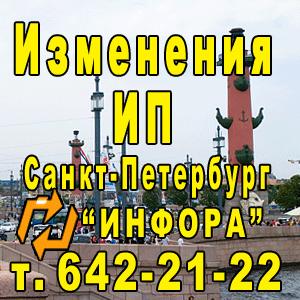 Изменения ИП в СПб, т. 642-21-22