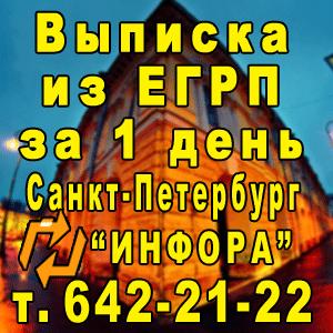 Выписка из ЕГРП за 1 день в СПб, т. 642-21-22